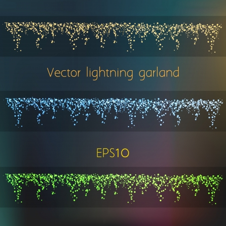 Vector Shiny Lightning Garland In Three Different Colors Stock Vector - 17716515
