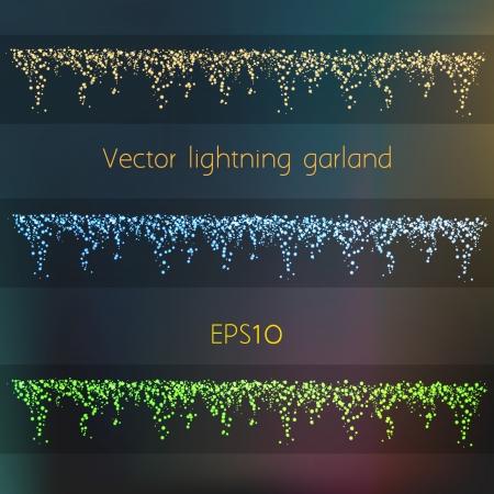 Vector Shiny Lightning Garland In Three Different Colors Illustration