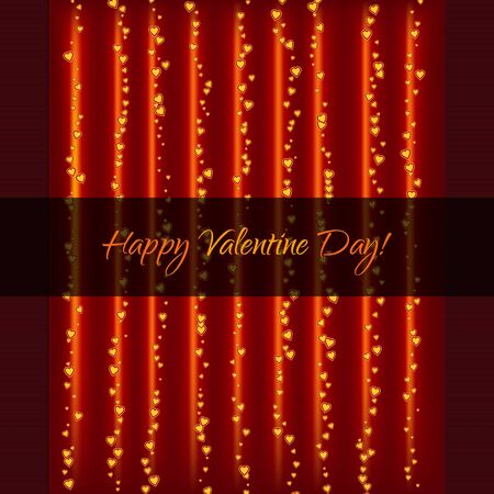 Lightning Garland With Hearts on Textured Background