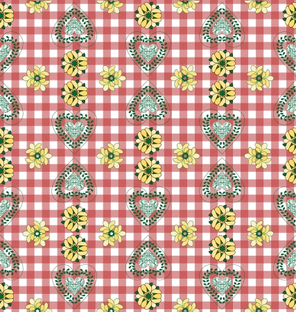Red and White Country Style Tablecloth Stock Vector - 20332481
