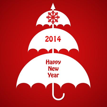 Christmas Card with Umbrellas Illustration