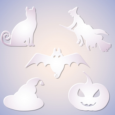 shadowed: Vector Shadowed Paper Symbol Set for Halloween