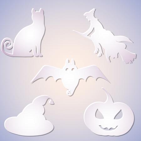 Vector Shadowed Paper Symbol Set for Halloween