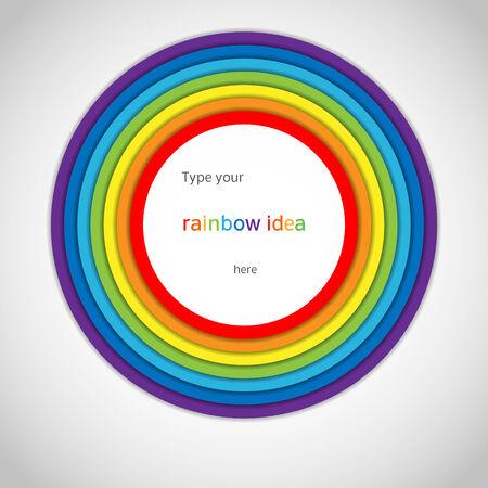 Rainbow Circle Label on White Background