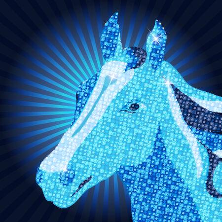Symbol of 2014 Vector Mozaic Horse Illustration