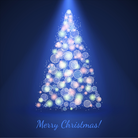 Christmas tree on blue vector background with bokeh