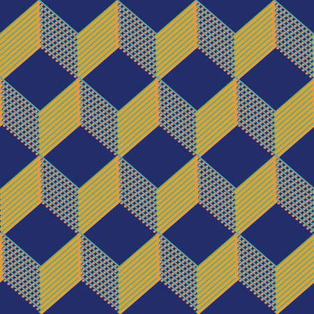 Cubes Seamless Pattern Background with Dots and Lines