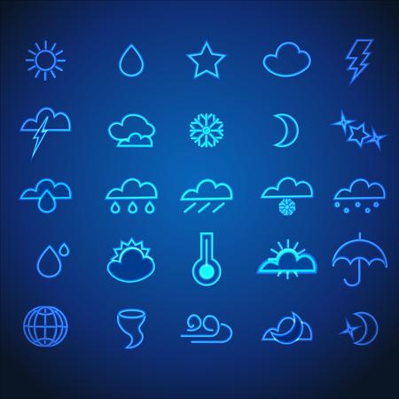 Set of Blue Neon Stroke Weather Icons  on DarkBackground.