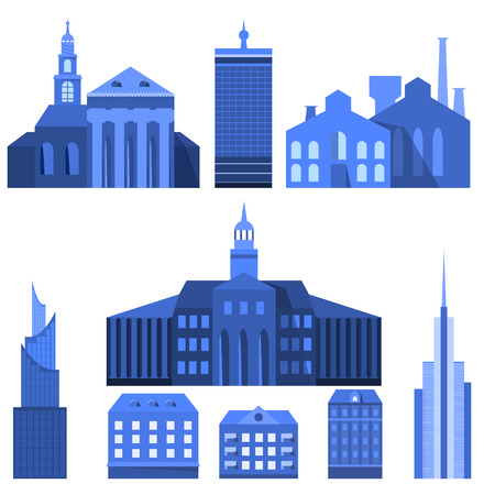 Blue European Flat City Elements for Lines, Banners and Bottom Decorations