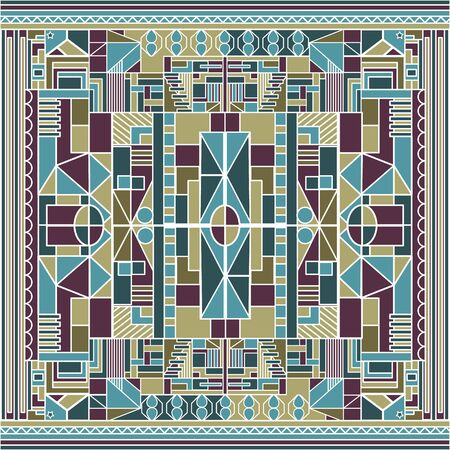 African Constructionism Colored Background with Tech and Geometric Elements