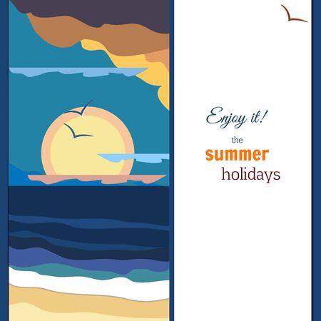 Peaceful sea sunset panorama. Warm palette. Vintage poster. Illustration