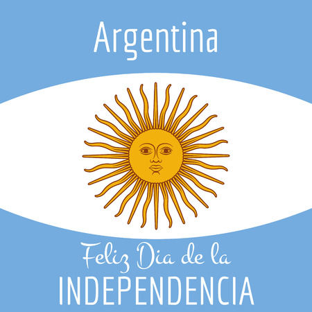 Argentina card - poster vector illustration with flag colors and simply removed text
