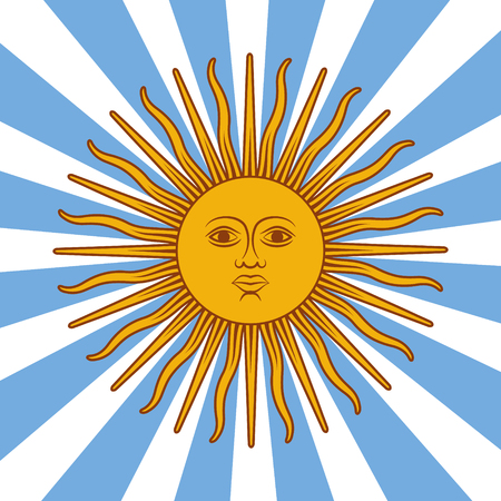 Argentina card - poster vector illustration with sun and flag colors and simply removed text