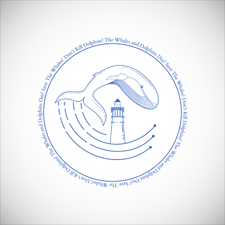 World oceans day emblem with jumping whale, ocean stylish waves and lighthouse.