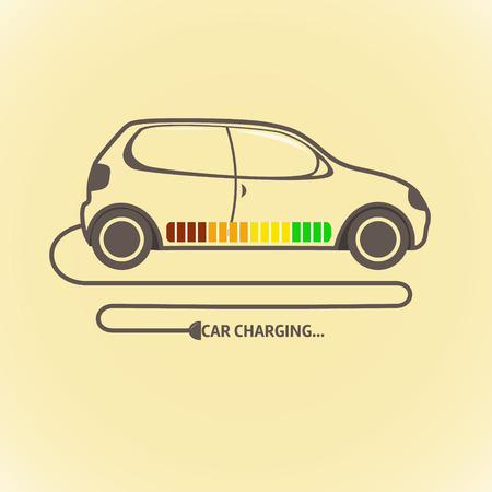 Electric auto car charging. Vector color illustration Çizim