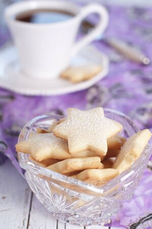 Homemade sweet cookie with hot tea Stock Photo