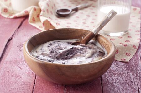 Breakfast with cream of wheat and milk Stock Photo - 15251378