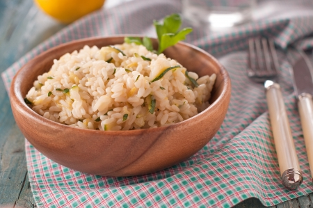 Italian traditional risotto with zucchini and lemon Stock Photo