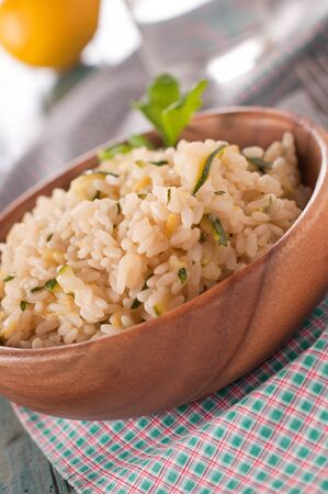 Italian Risotto with zucchini and lemon Stock Photo