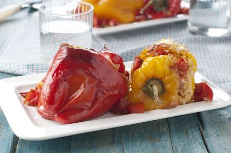 Italian stuffed pepper with rice and tomato
