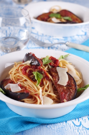 Traditional italian pasta with eggplant Stock Photo