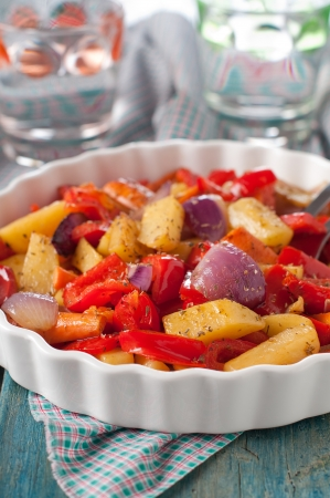 Cooked vegetable with potato, pepper, onin and carrot Stock Photo