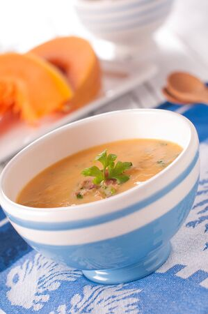 Soup with pumpkin and ham