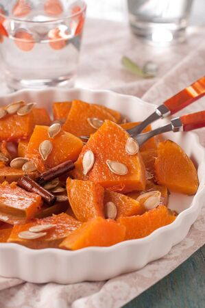 Pumpkin with cinnamon, pepper and salvia