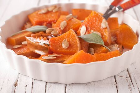 Pumpkin with salvia and cinnamon Stock Photo