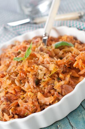 Cooked cabbage with meat