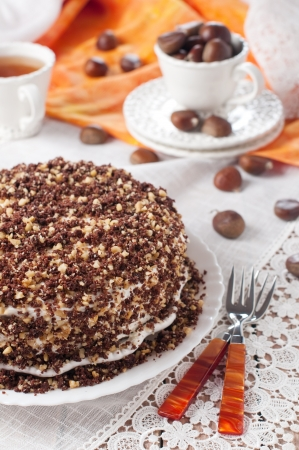 Cake with chestnut, selective focus