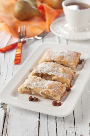 strudel with raisins and pear, selective focus