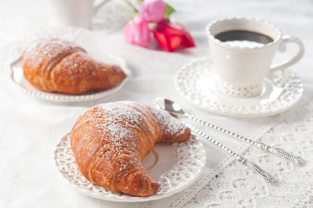 Coffe and croissant for breakfast Stock Photo