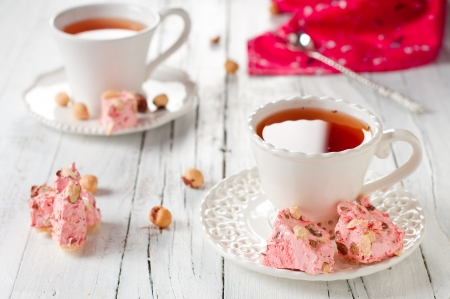 Sweet pink nougat with strawberry and nut, selective focus Stock Photo