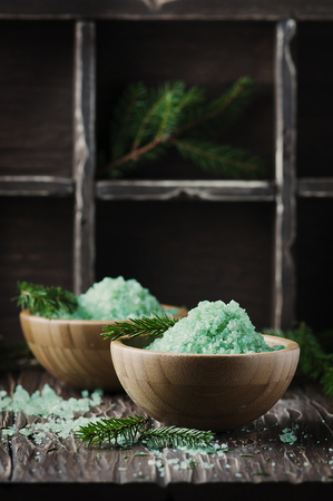 Concept of spa with salt and pine branches, selective focus Stock Photo