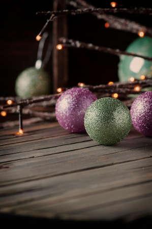 Christmas decor on the vintege table, selective focus Stock Photo