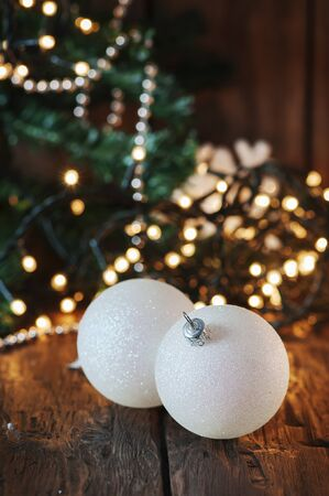 Christmas decor on the wooden table, selective focus
