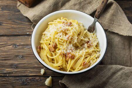 Traditional italia spaghetti carbonara with pork and eggs, selective focus images