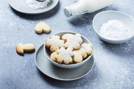 Homemade cookie with powdered sugar on the gray background, selective focus image with copy space for a text