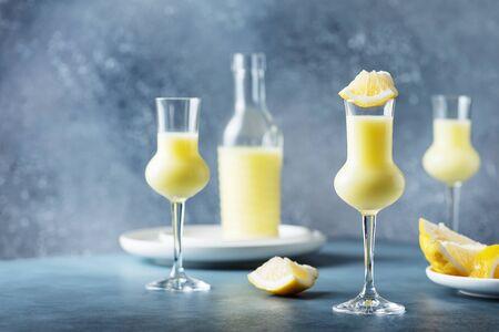 Italian liquor with lemons and cream, selective focus image