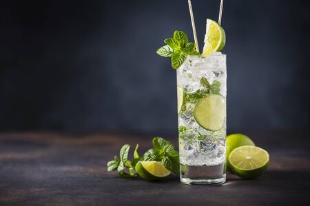 Alcoholic mojito with lime, mint and ice on the black background, selective focus image