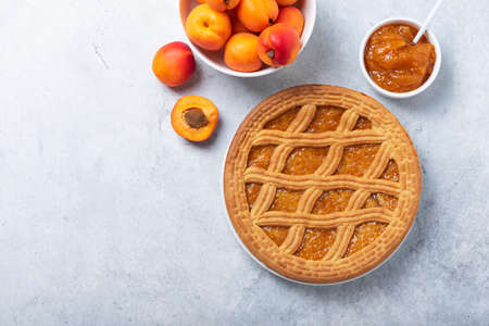 Sweet crust cake with apricots and apricot jam, top down view image with copy space