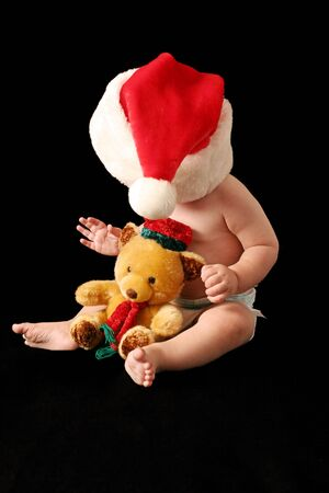 with christmas hat with bear Stock Photo - 526396