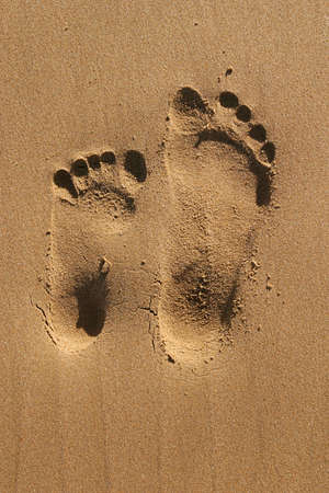 Two different size footprints photo