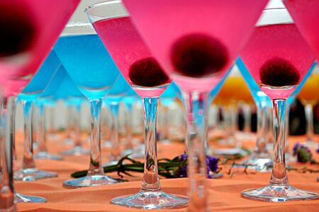 Blue and Pink cocktails close-up