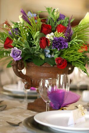 receptions: Table decor at a wedding Stock Photo