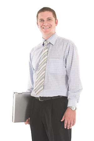 Smiling businessman carrying laptop over white backdrop Stock Photo - 603564