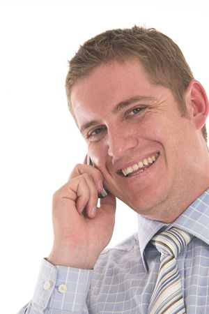 Businessman laughing on his cell phone over white photo