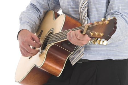 Businessman playing a brown old guitar over white Stock Photo - 603270