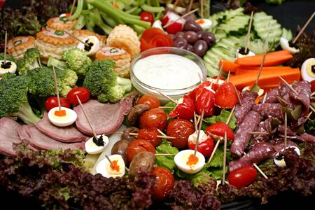 veg: Snack platter with meat and egg and veg